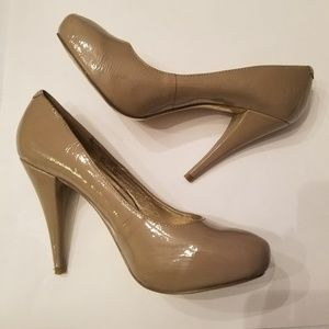 Nude Patent Almond Toe Pumps